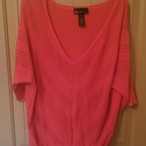 Bright coral Lane Bryant 3/4 sleeved sweater